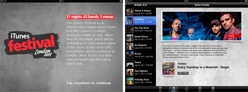 iTunes Festival 2011 App for iPad 2