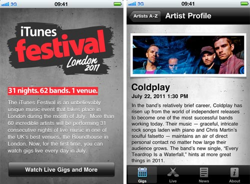 iTunes Festival 2011 App for iPhone