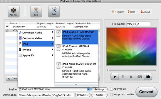 mp4, avi, mpg to iPod, iPhone, app TV- download Mac iPod video converter