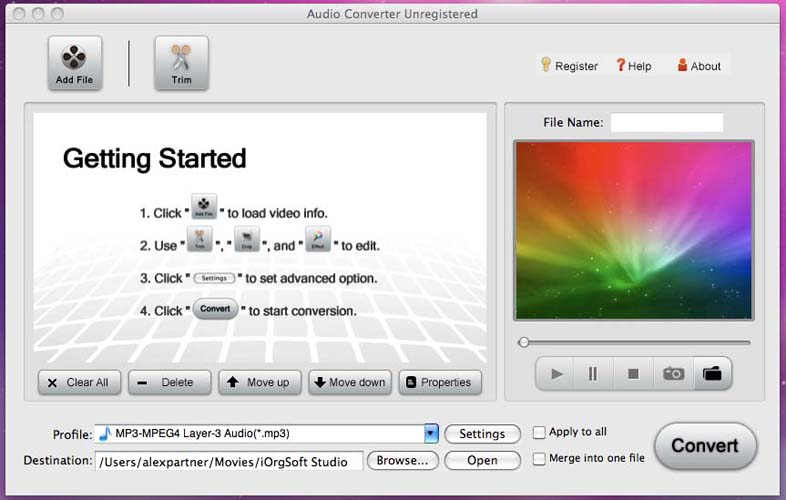 Convert mov/mp4/avi/flv/asf to audi on Mac OS
